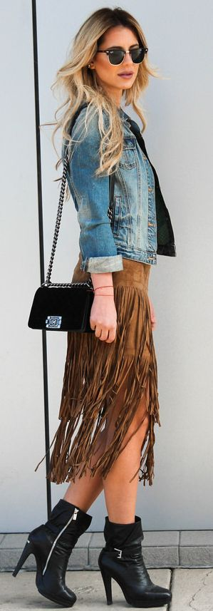 Camel Suede Fringed Skirt Fall Streestyle Inspo by ...