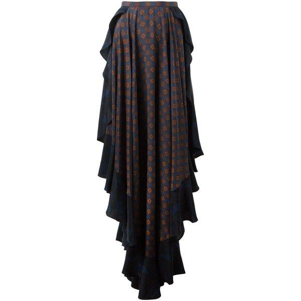 Lanvin ruffled pattern skirt (€4.180) ❤ liked on Polyvore featuring skirts, blue, blue skater skirt, patterned skirts, blue flared skirt, circle skirt and silk skirt