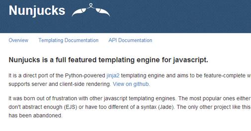 Nunjucks is a direct port of the Python-powered Jinja2 templating ...