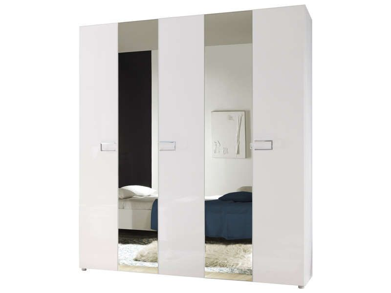 armoire 5 portes lidia coloris blanc prix promo armoire conforama pas cher ttc au lieu. Black Bedroom Furniture Sets. Home Design Ideas