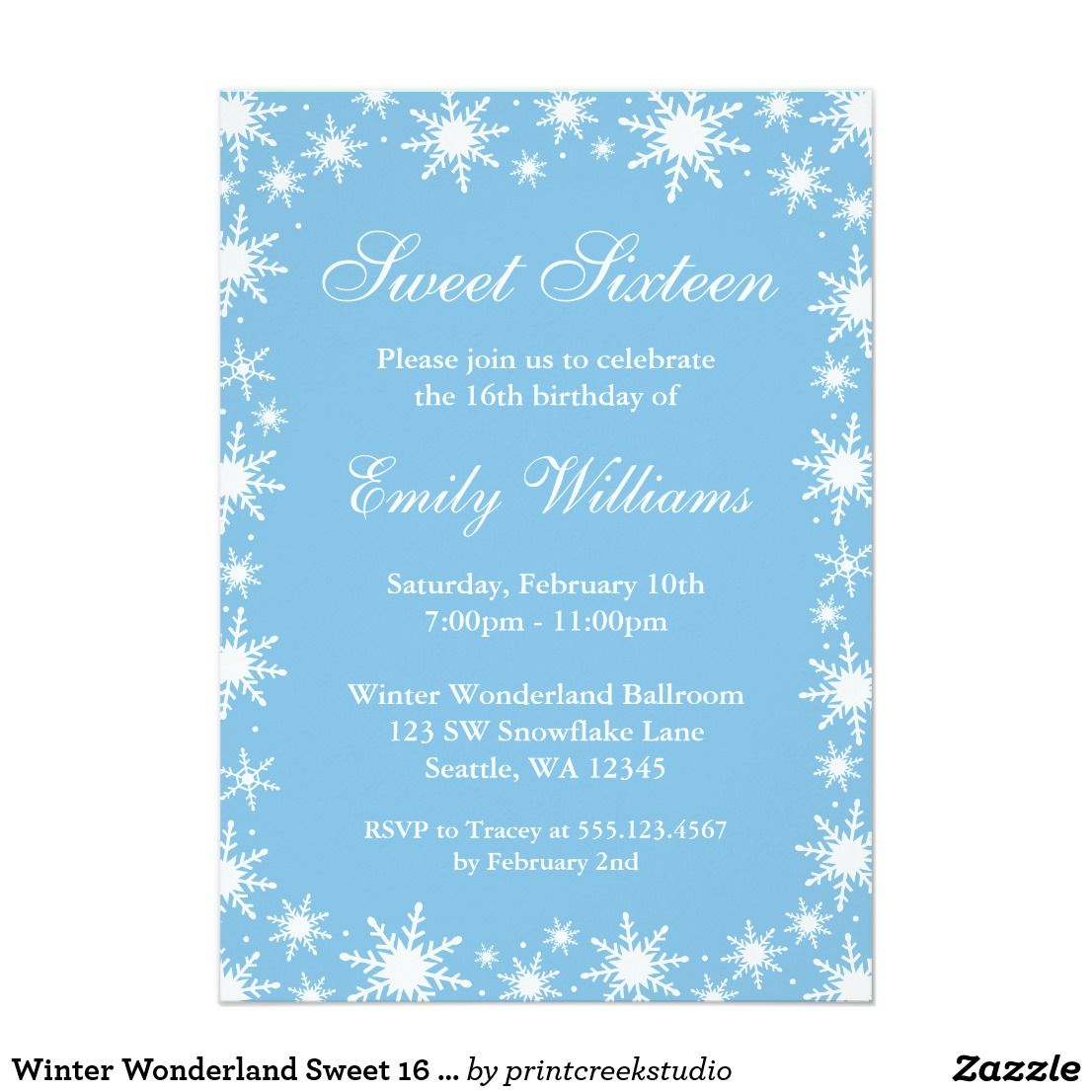 Winter Wonderland Sweet 16 Birthday Party Card | Sweet 16 birthday ...
