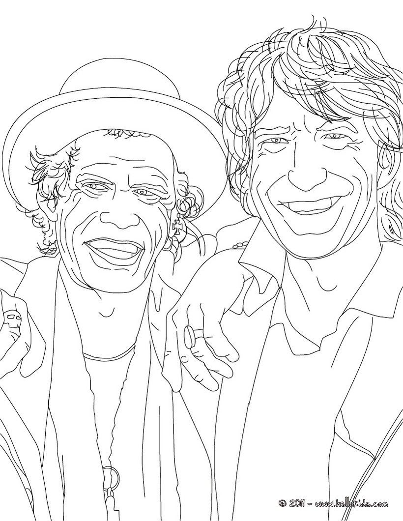 mick jagger and keith richard coloring page more famous people