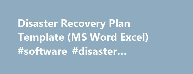 Disaster Recovery Plan Template Ms Word Excel Software