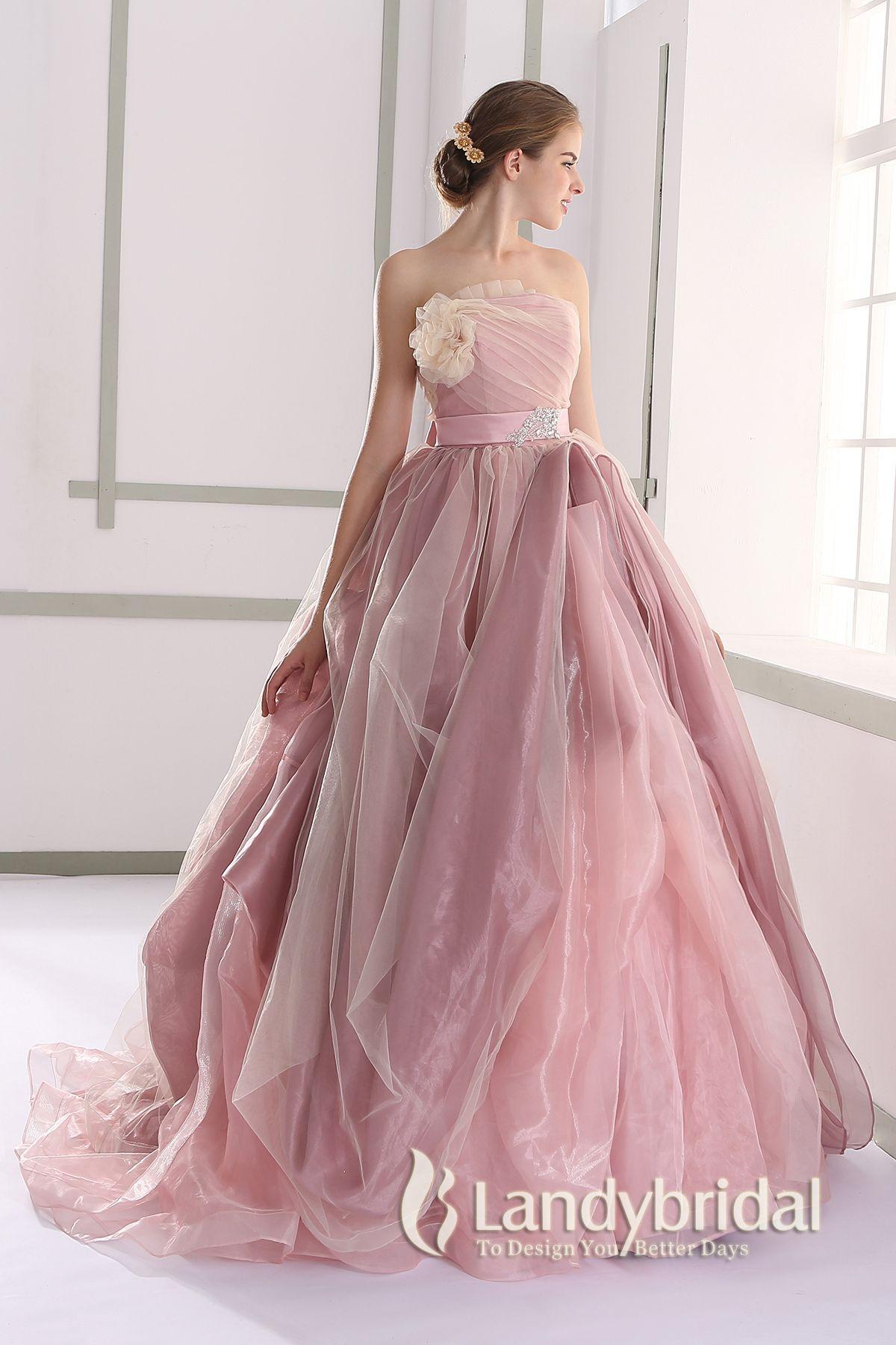 カラードレス プリンセス 取り外し式ベルト ビスチェ ピンクベージュ ...