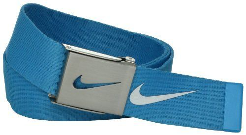 Nike Belts Men's 3 Pack Web, Blue/White/Green, One Size Nike. $45.00. 90% Cotton/10% Zinc. One Sized. Made in China. Hand Wash. Nike Swoosh on Buckle. Brushed Nickel Military buckle