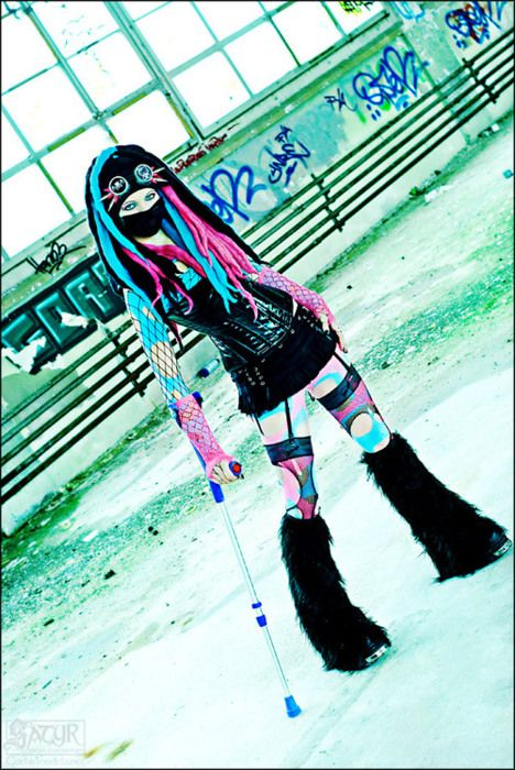 Love the cane on this Pastel #Cyber-Goth Says something about our future