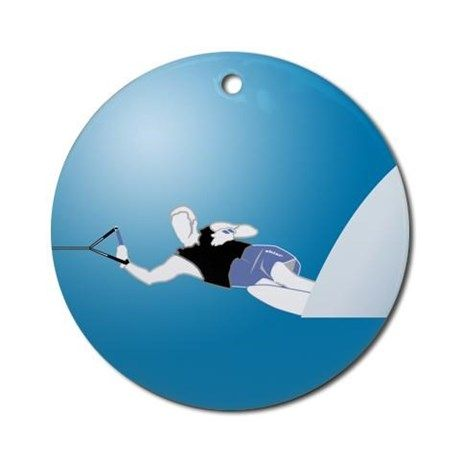 Slalom WaterSkier Ornament (Round) on CafePress.com