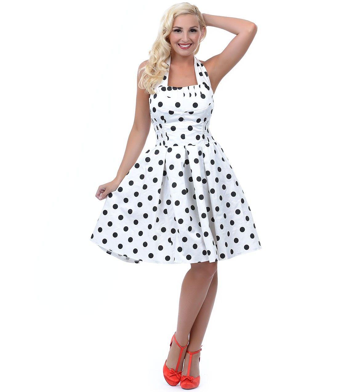 Black dress with big white polka dots