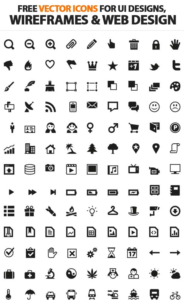 200+ Free Vector Icons For UI, Wireframes and Web Design Icons - gui designer resume