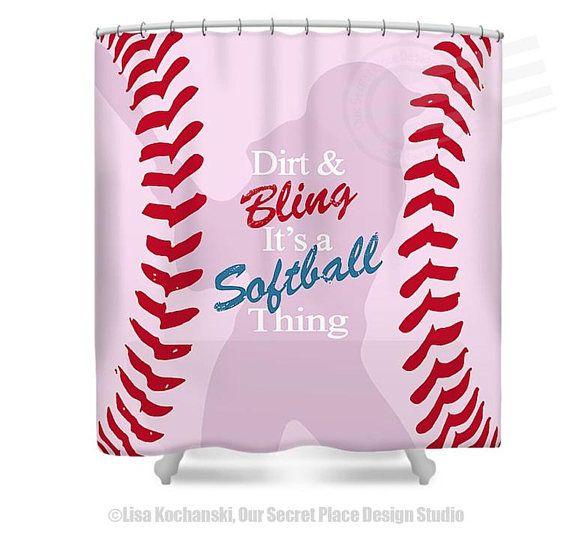 Girls Softball Shower Curtain Dirt Bling Its A Thing Soft Ball Decor Bathroom