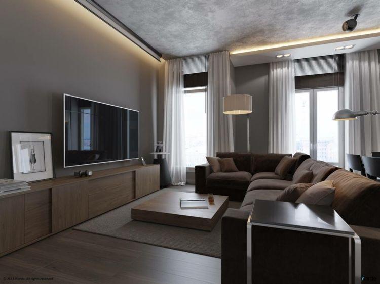 Wohnzimmer In Grau Wohnwand Holz Braun Sofa Decke Beton Optik Haus