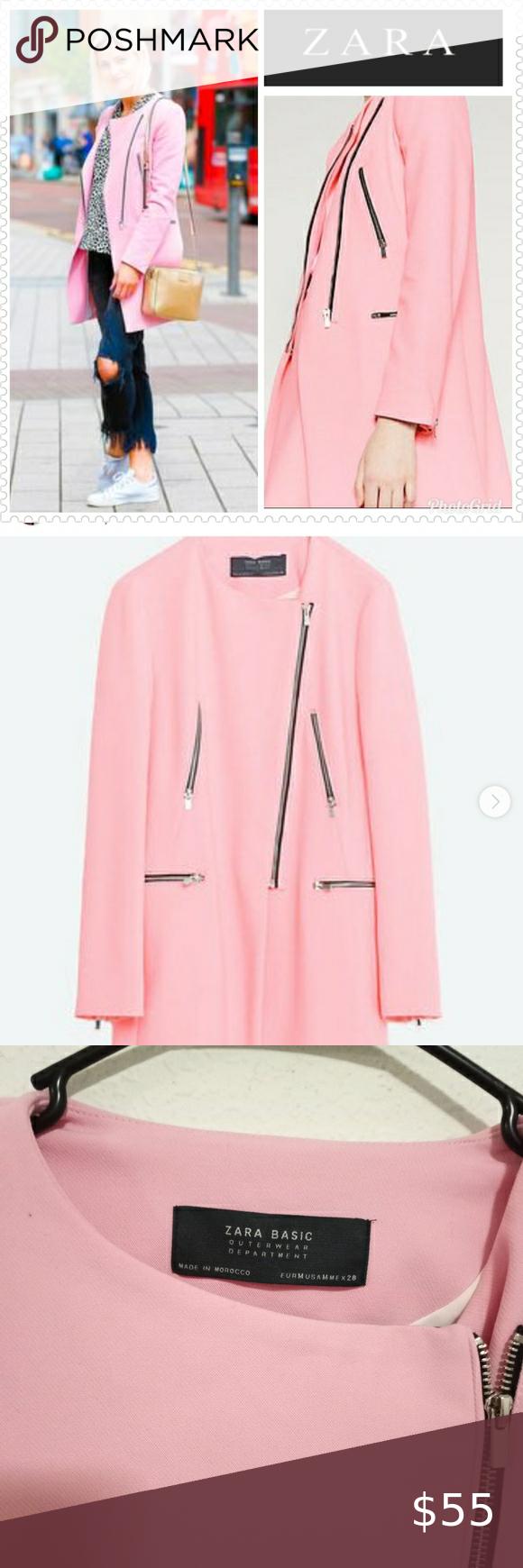 Zara Pink Round Neck Coat Zips Jacket Sz M Pink Jacket Blazer Zara Pink Jacket [ 1740 x 580 Pixel ]