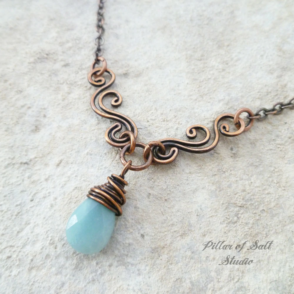 Photo of Amazonite Copper Wire Wrapped necklace scrolling V