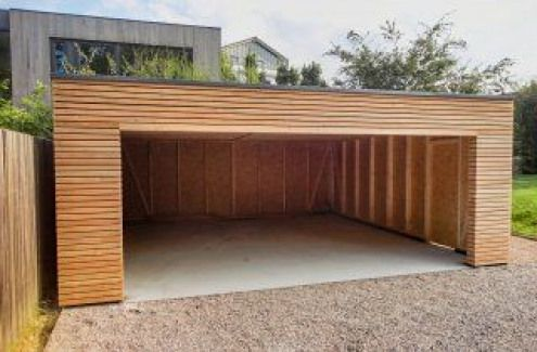 Montierte Holzgarage Mit Grosse Gemeinsame Tor Woodworking Avec Images Dessins Carport Garage Toit Plat Garage Bois Toit Plat