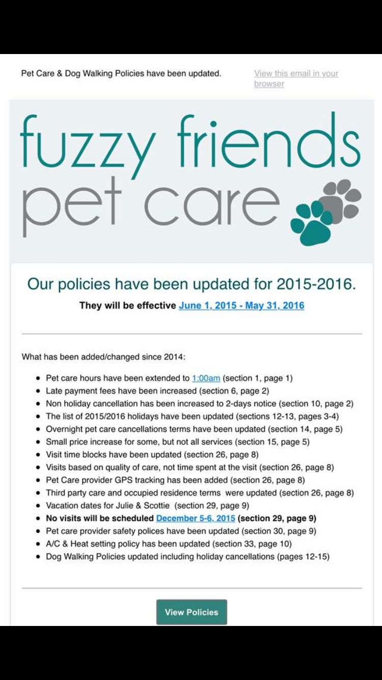 Policy Change Email Example Pet Sitting Business Pet Care Dogs