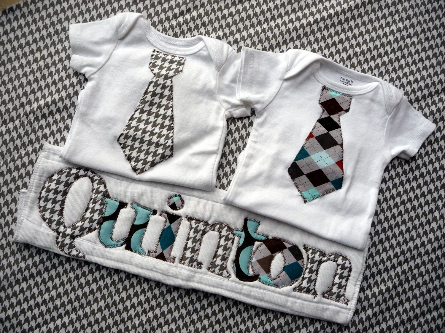 Baby boy gift set 2 tie onesies with personalized burp cloth baby boy gift set 2 tie onesies with personalized burp cloth love the prints negle