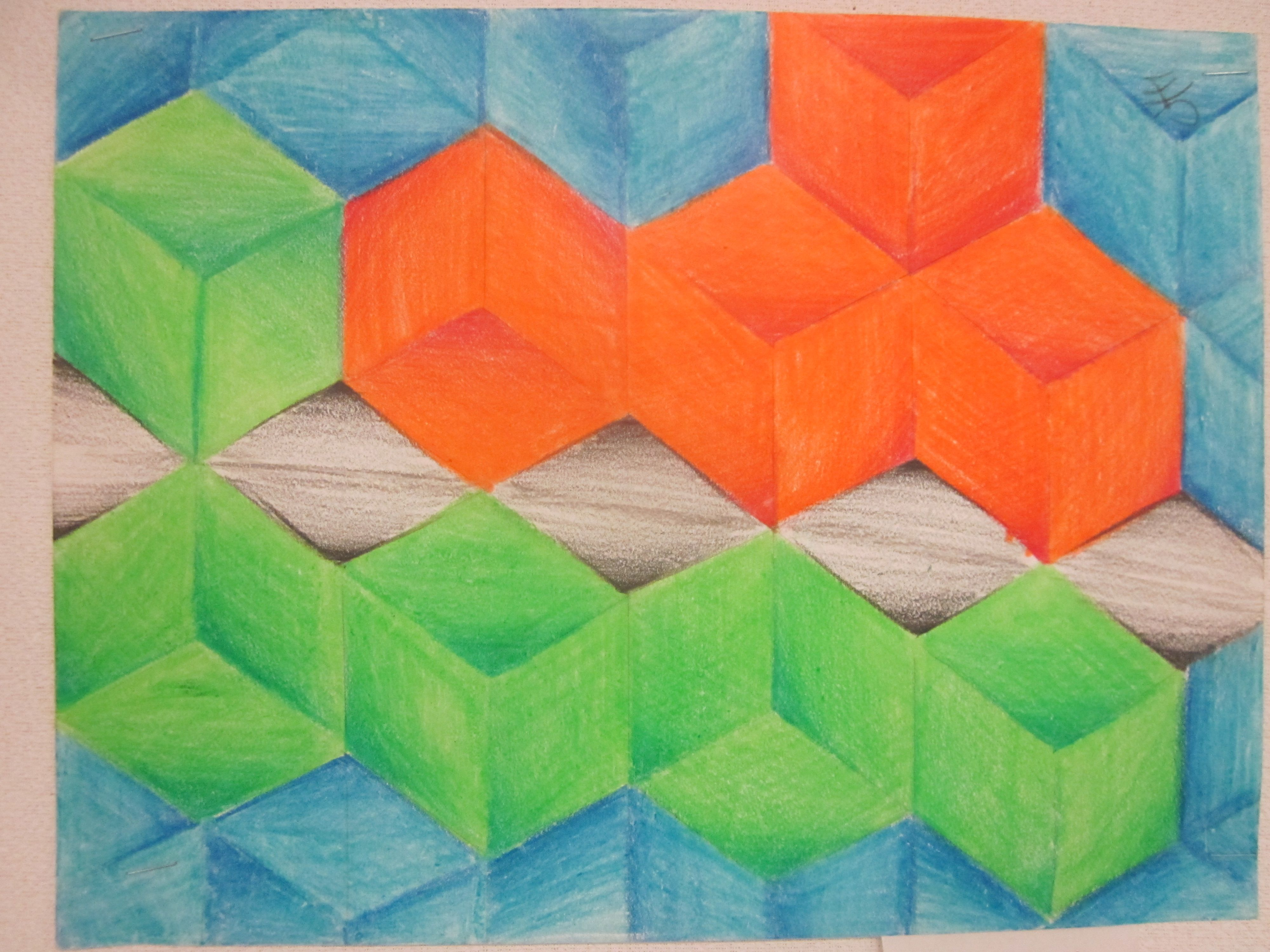 Optical Illusion Cube Assignment Lored Pencil