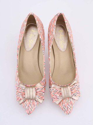 Ruby Shoo - Korálové boty na jehlovém podpatku s mašlí  Jenna - 1