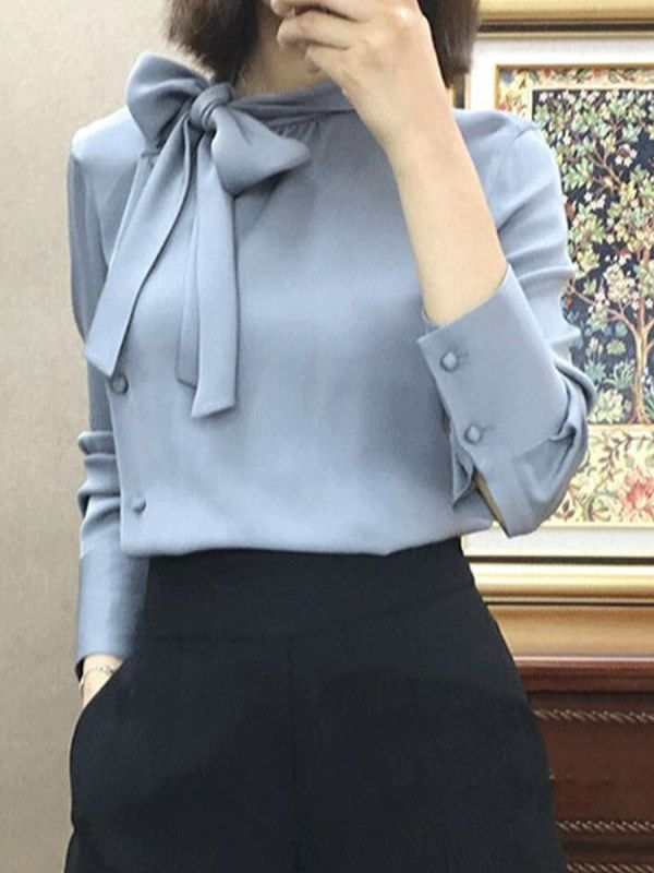 Autumn Spring Women Tie Collar Plain Long Sleeve Blouses - koselove.com