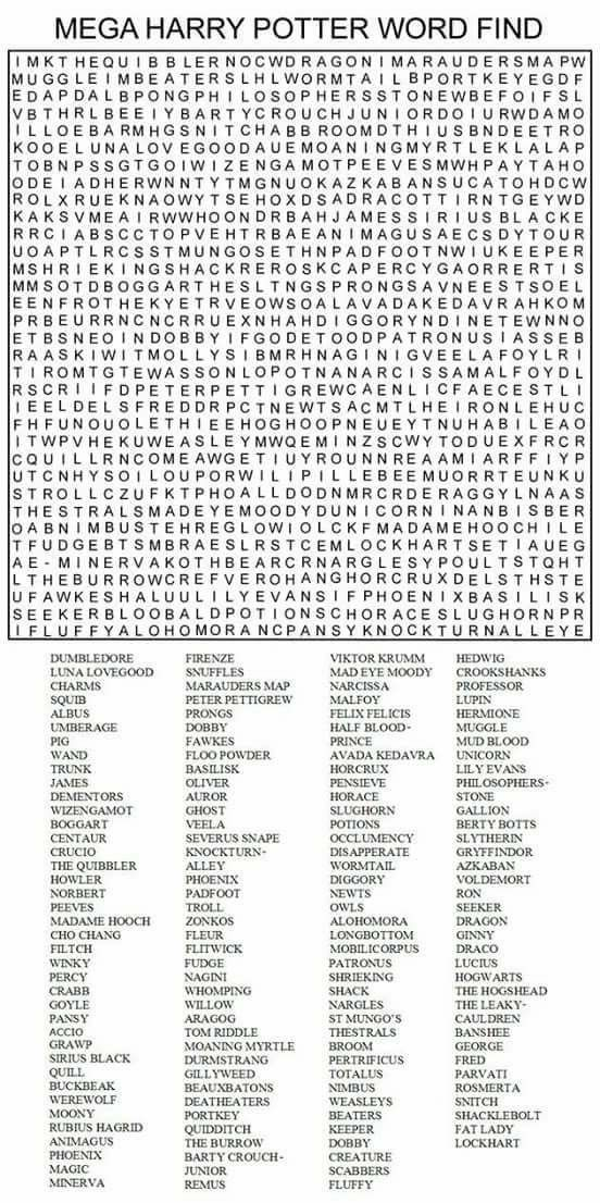 Mega Harry Potter Word Search Harry Potter Words Harry Potter