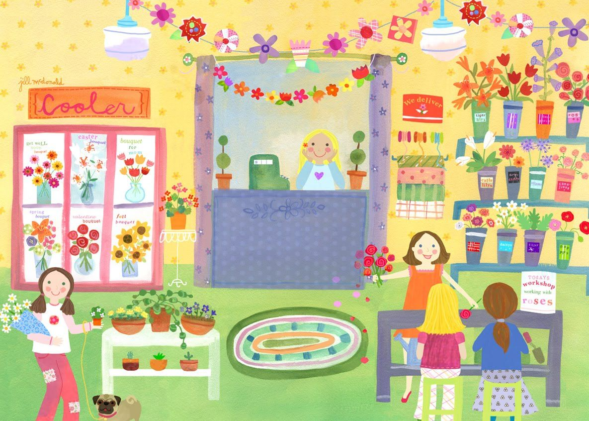 Flower Shop Canvas Wall Art | Flower shops, Pre-school themes and School