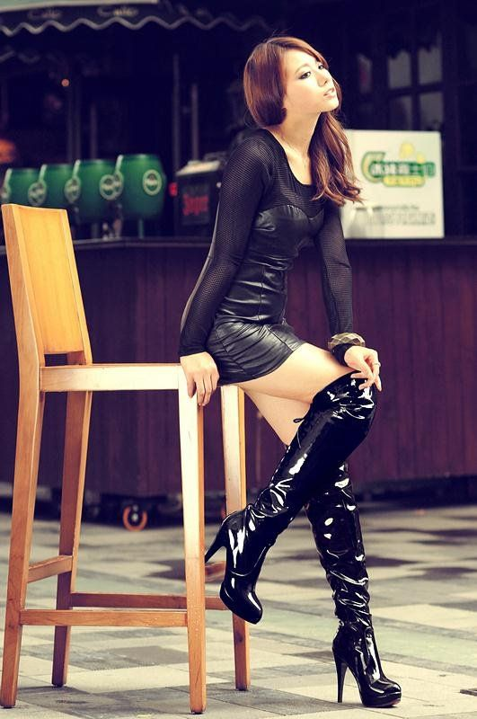 Sexy High Heel Boots Round Toe Zipper Cone Heel Rave Club Black Thigh High Boots Stripper Shoes