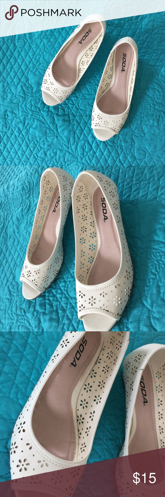    Soda    Wedge Gently worn. Great condition. No trades, PayPal, or holds. Comment for any additional questions! Thank you✨💖 Soda Shoes Wedges