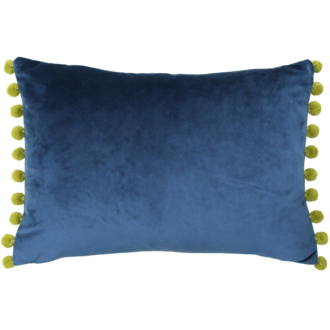 Pillow Cover with Pom Poms Blue Pom Pom