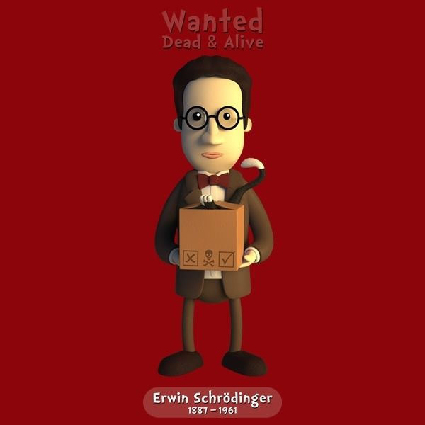 cd8b70389 Erwin Schrodinger - Wanted Dead & Alive #chayground #skepticool #science  #scientist #cute #kawaii #geek #tshirt #schrodinger #cat #box