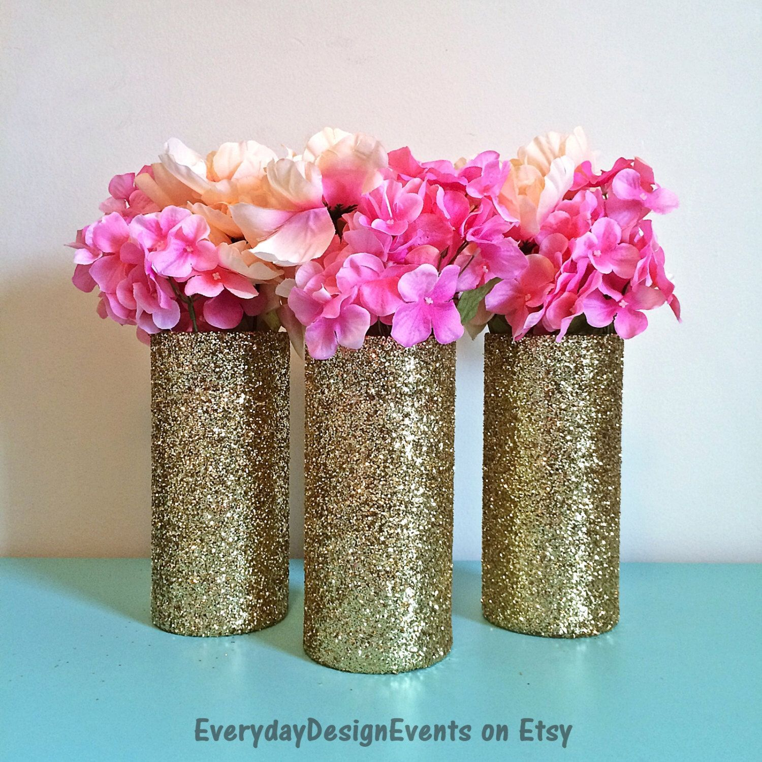 Wedding decorations gold and pink   Gold wedding centerpiece wedding decorations gold glitter vases