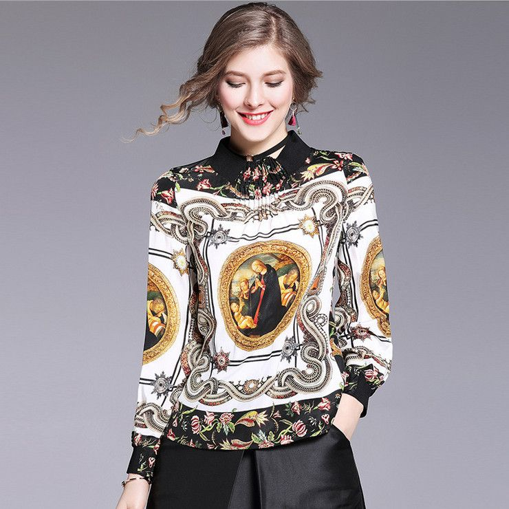 Silk Stand Up Collar Palace Printing Shirt