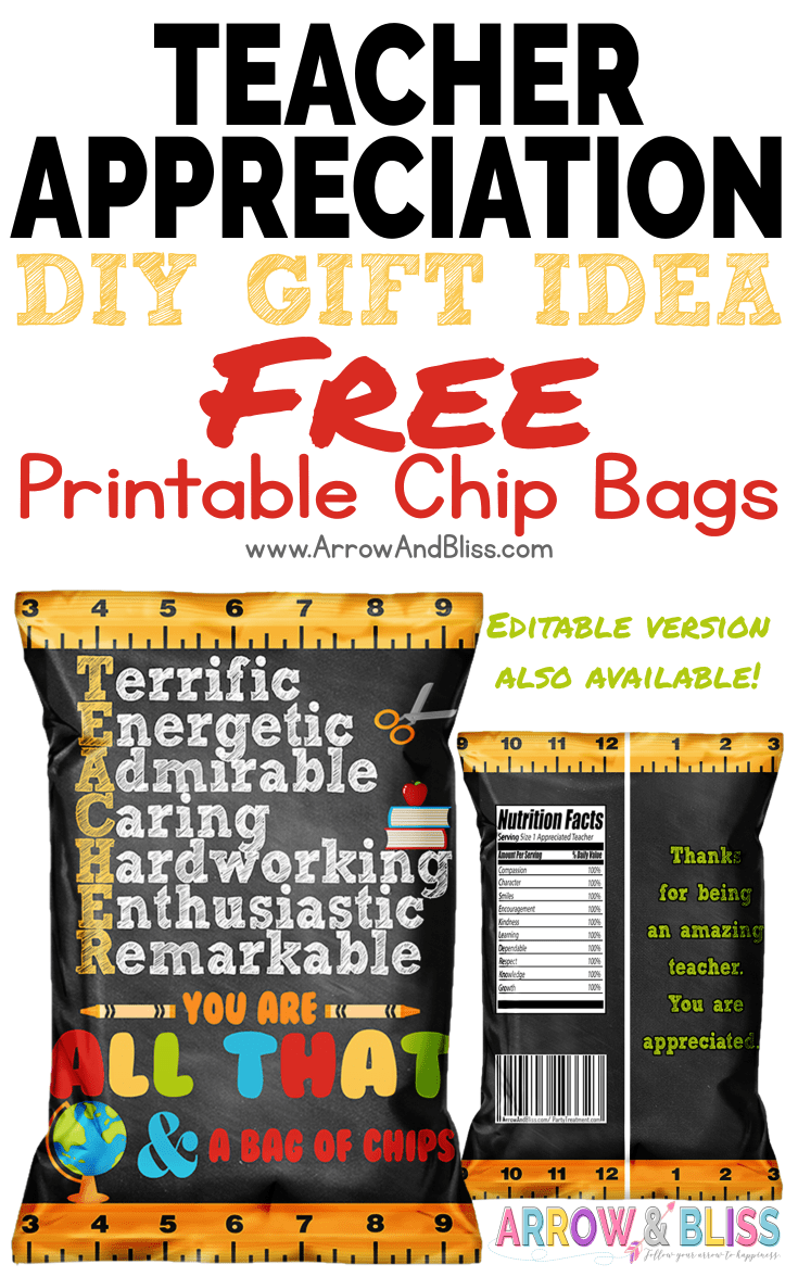 graphic regarding Printable Chip Bags named Totally free Trainer Appreciation Chip Bag Printable Instructor