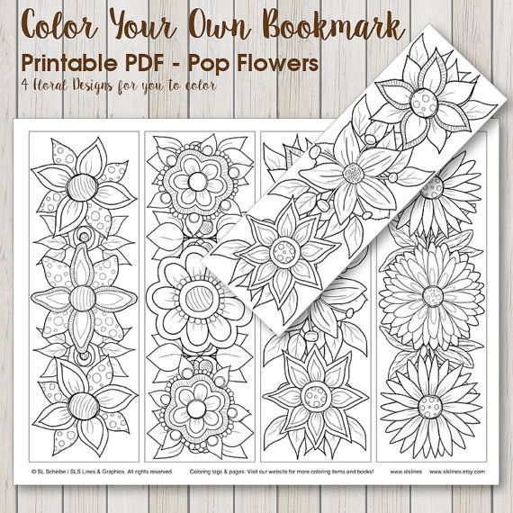 Printable PDF Bookmark Coloring with retro pop flower design ...