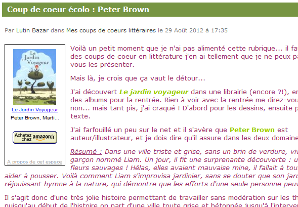 Coup de coeur colo le jardin voyageur de peter brown for Le jardin voyageur peter brown