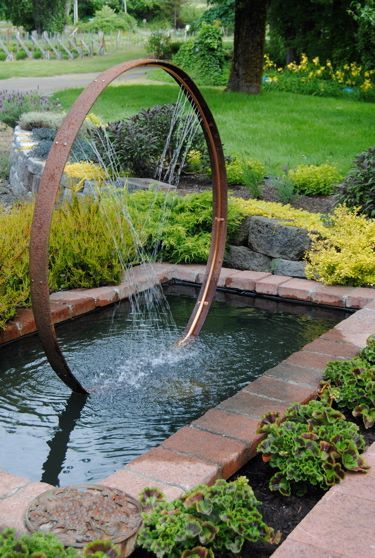 Wine Barrel Hoop And Copper Pipe Water Feature. I Would Use My Old Wagon  Wheel Hoops That The Wheels Have Rotted Out Of For Sure.