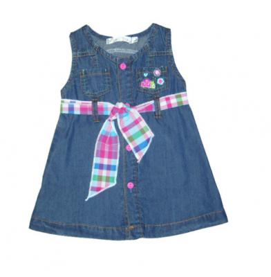 f7b856ba504b8 vestidos para bebes de 6 meses en jeans   aprender   Applique dress ...