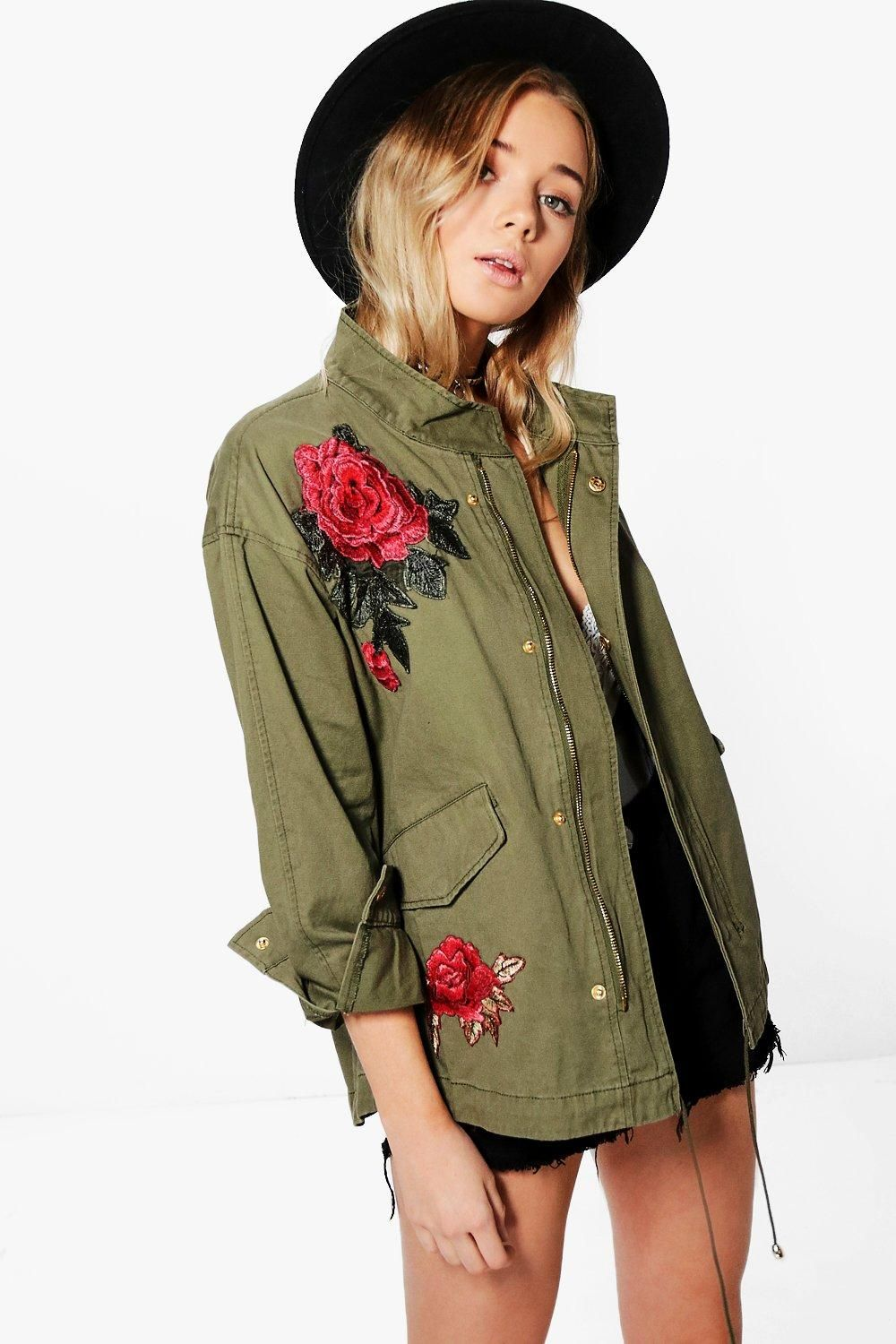 Elizabeth Boutique Rose Embroidered Military Jacket | Boohoo