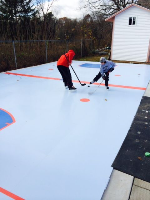 First Ever Skate On This Backyard Smartink Synthetic Ice Rink Featuring The Profast1800 Panel And For A First Synthetic Ice Rink Ice Rink Backyard Hockey Rink
