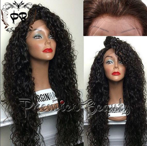 Free shipping curly human hair wigs brazilian human hair glueless full lace wigs natural black bleached knots with baby hair for black women by PREMIERBEAUTY on Etsy https://www.etsy.com/listing/203307376/free-shipping-curly-human-hair-wigs