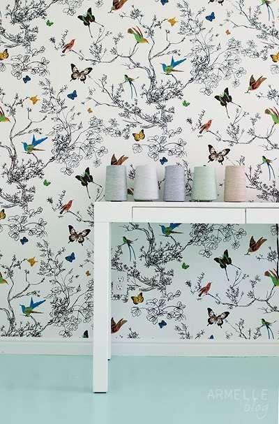 Best Schumacher Birds And Butterflies Wallpaper Multi On White 400 x 300