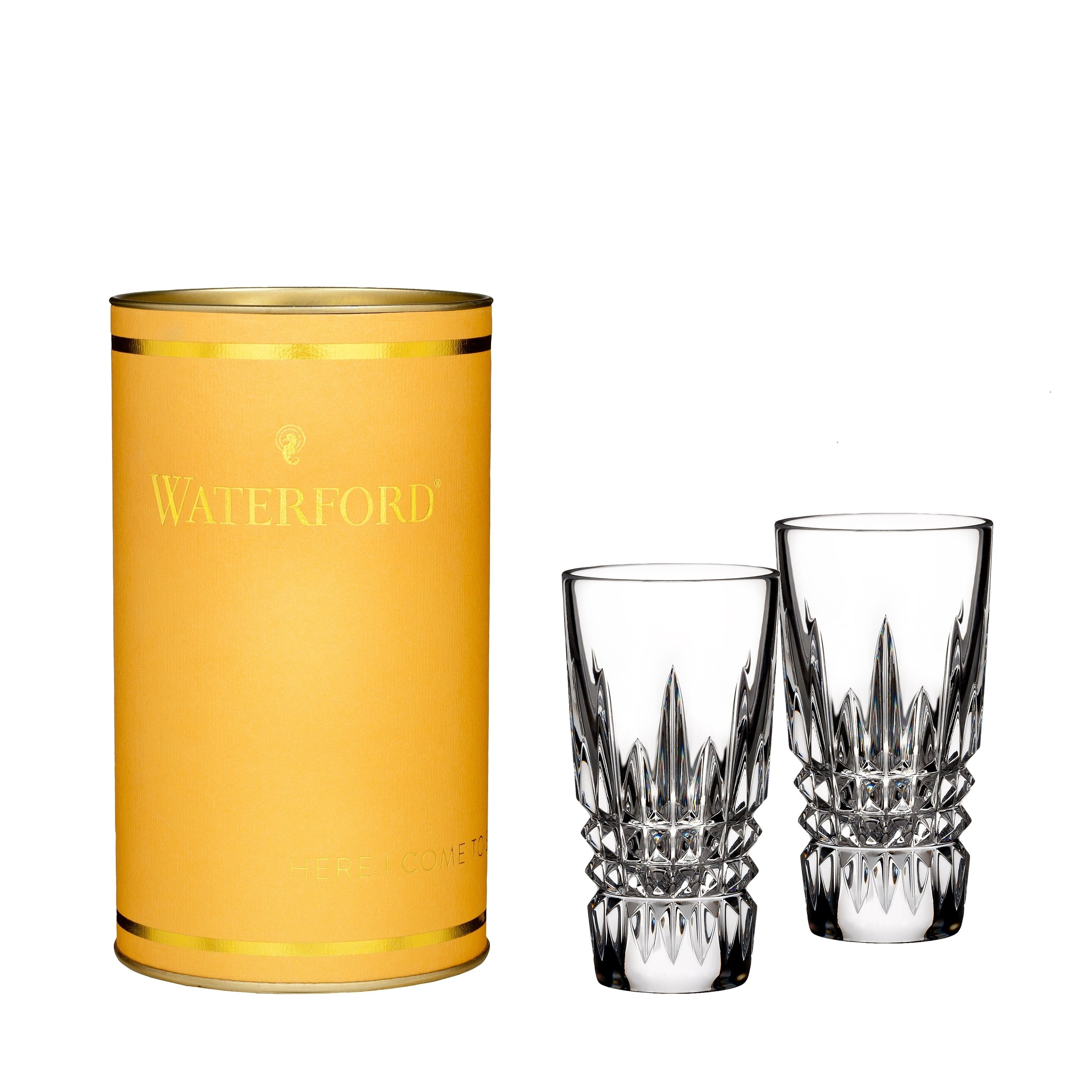 Giftology Clear 2oz Lismore Diamond Shot Glass Set Of 2 Canary Tube Waterford Crystal In 2019 Crystal Shot Glasses Shot Glass Set Shot Glasses
