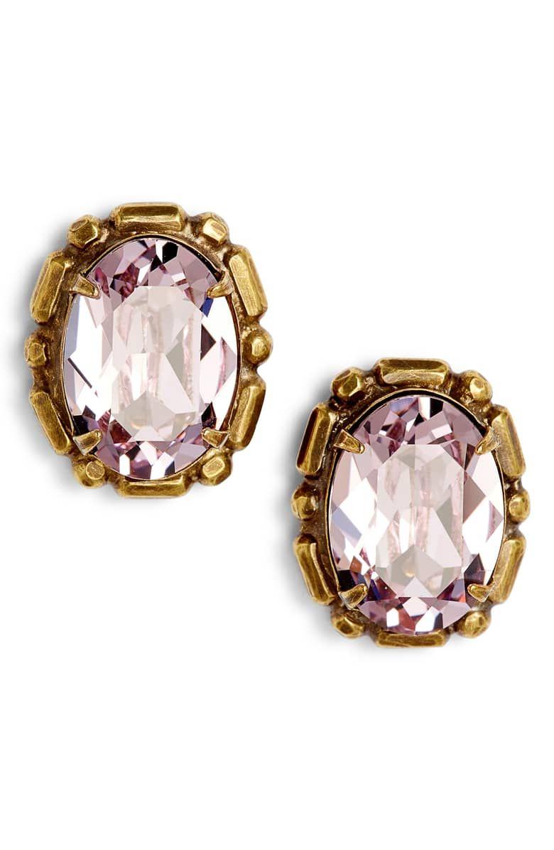 62eaf54ac Oval Crystal Stud Earrings, Main, color, PINK MULTI | Nordstrom.com ...