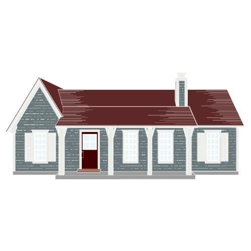 Best Blue Sky Boothbay Blue Arctic White Maroon Roof And 400 x 300