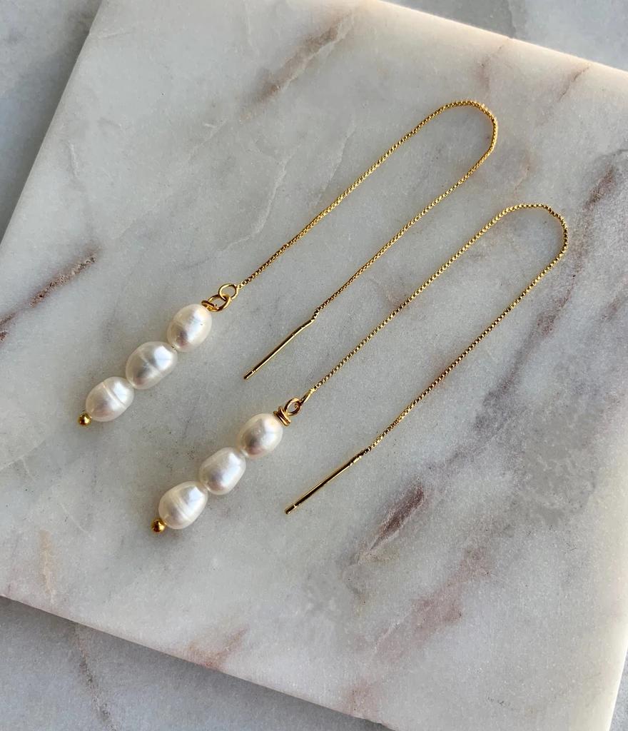 Bridal Jewelry Bridal Earrings Freshwater Pearl Bridesmaid Gift Gold Chain Earrings Pearl Earrings Pearl Threader Earrings