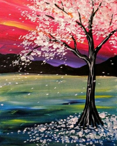 Flowering Cherry Tree With Red Sunset And Purple Shadows Beginner Painting Idea Shadow Painting Tree Painting Painting