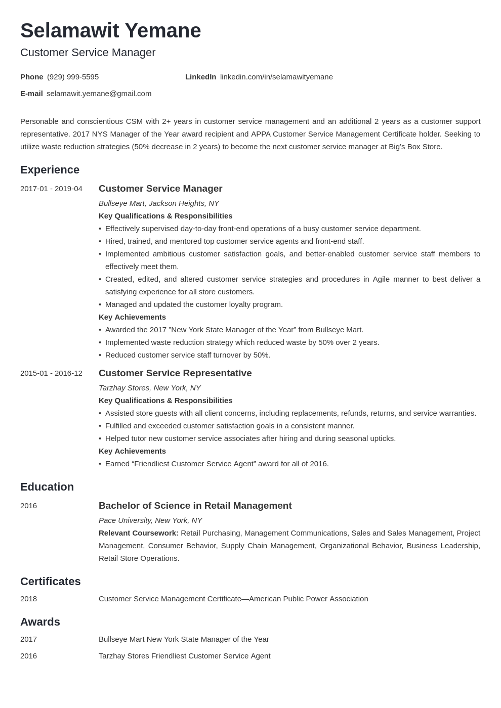 Customer Service Manager Resume Example Template Minimo Manager Resume Job Resume Examples Resume Examples