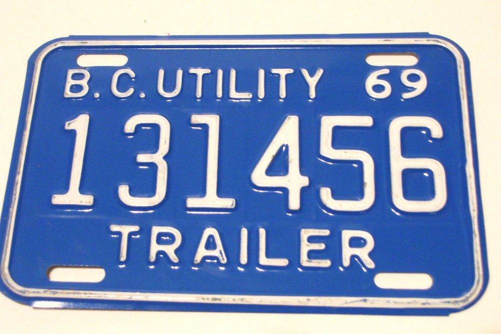 1969 BC Utility Trailer Licence Plate 131456 Canada Vintage White on Blue, Plus a few others as well!