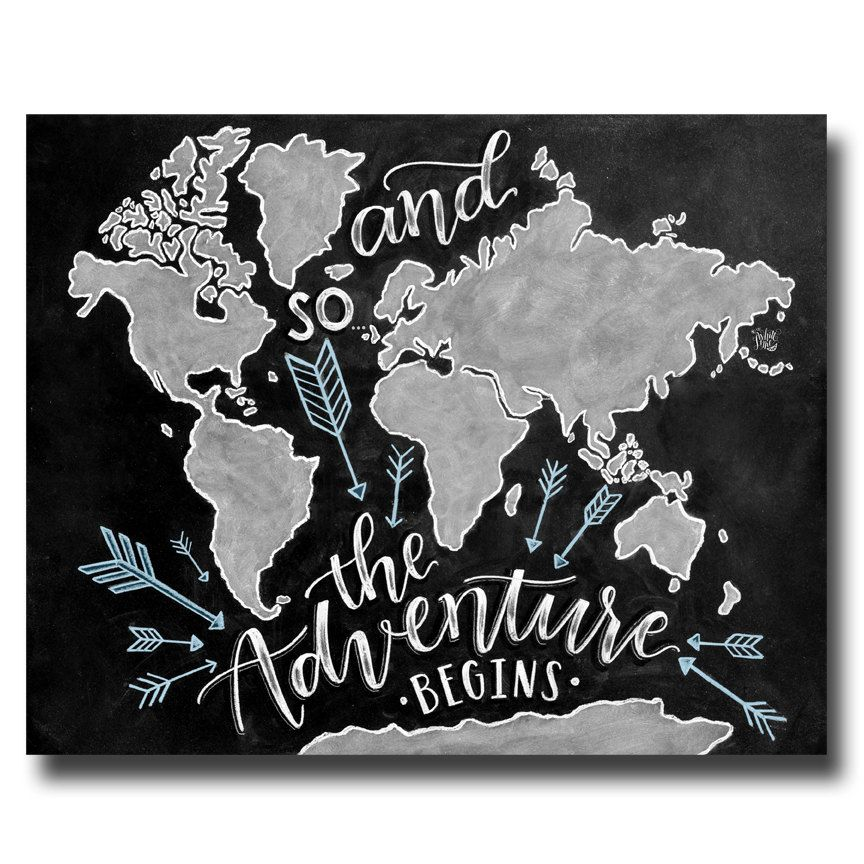 And so the adventure begins sign world map wanderlust chalkboard and so the adventure begins sign world map by thewhitelime on etsy gumiabroncs Image collections