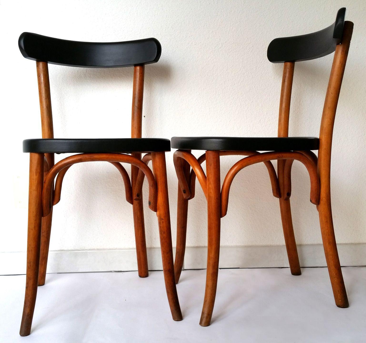 Fauteuil bureau style bistro Baumann années 50 bois