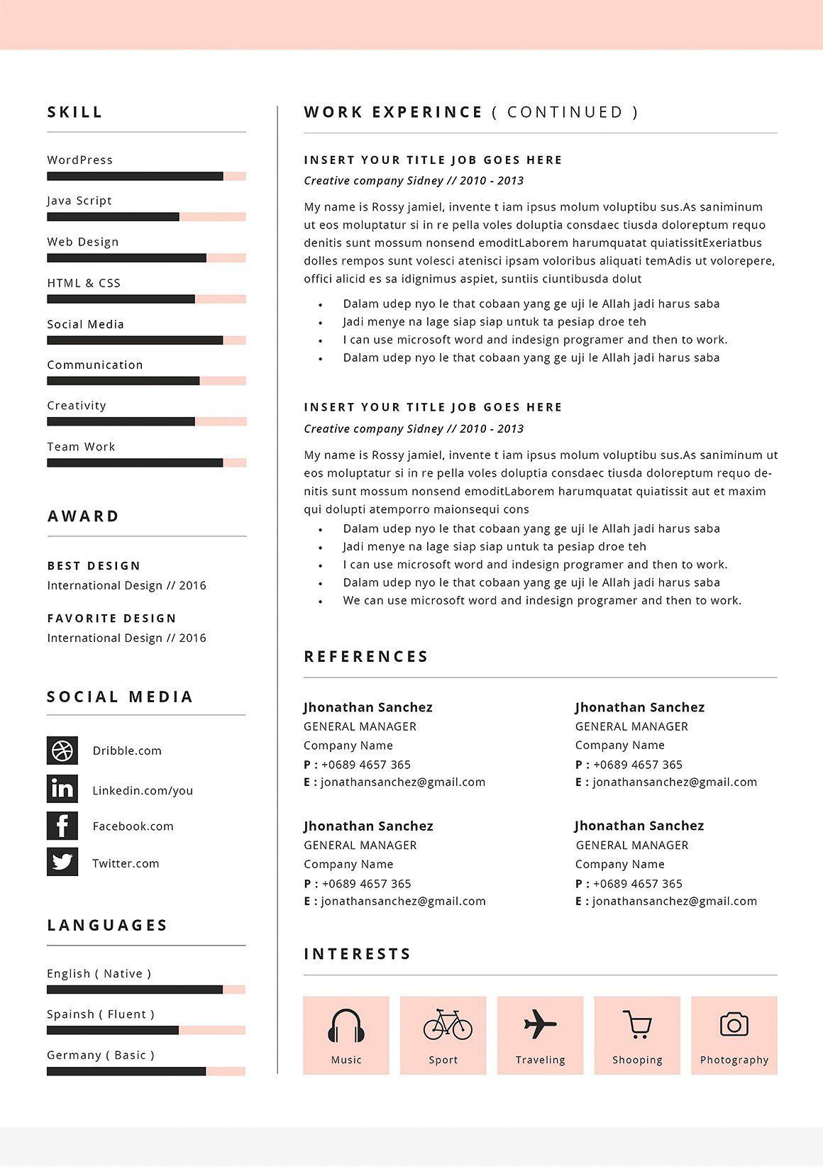 Resume Cv Monica Resume Cv Cover Letter For Resume Interior Design Cv